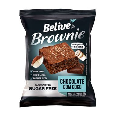 BROWNIE CHOCOLATE COM COCO - BELIVE 40G